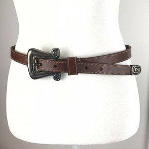 Women's Brown Hand Stitched Leather Belt USA Made